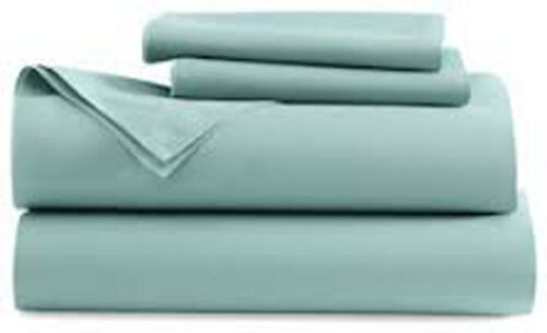 2 PILLOW CASES FLAT SHEETS ISLAND KING SHEET SET MILKY BLUE FITTED