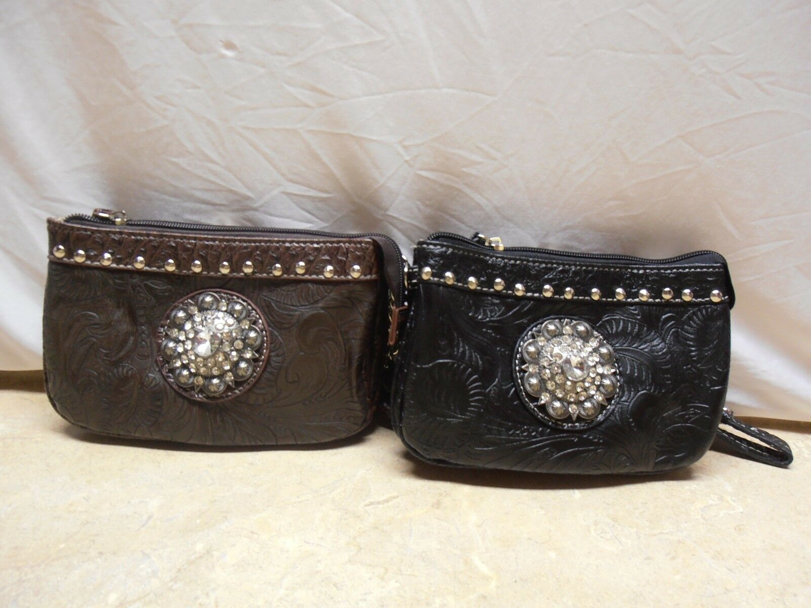 Tooled Leather Crystal Concho Wallet Clutch Wristlet Loop Handle Crossbody Purse