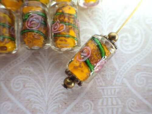 Lampworkperlen roses Cylindre lampwork parierait Cœur Beads lampworkbeads
