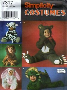 Simplicity-7317-Toddler-Animal-Costume-Sewing-Pattern-Uncut-Bunny-Bear-Lion-Cow