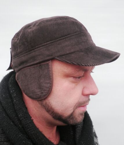 Herren Mütze Cordschirmmütze Wintermütze Ohrenschutz Herrenhüte Hüte Herbst