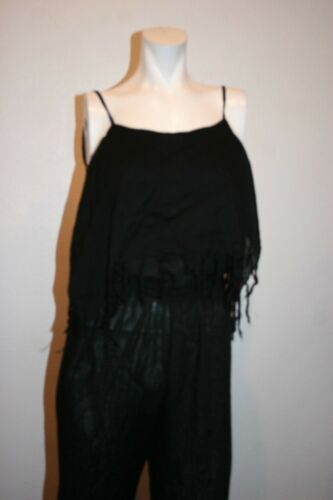 Overlap 100 S With Indah Tenno Rayon Black Fringe Neckline New Size Jumpsuit w8A1xqn