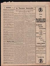 WWI Pub Auto Panhard Comptoir National d'Escompte Paris/ Orgue 1914 ILLUSTRATION