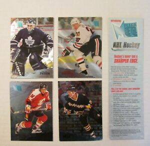 1 -1995 Fleer Metal Hockey Card 7X7 Promo Sample Potvin, Roenick, Fleury, Park