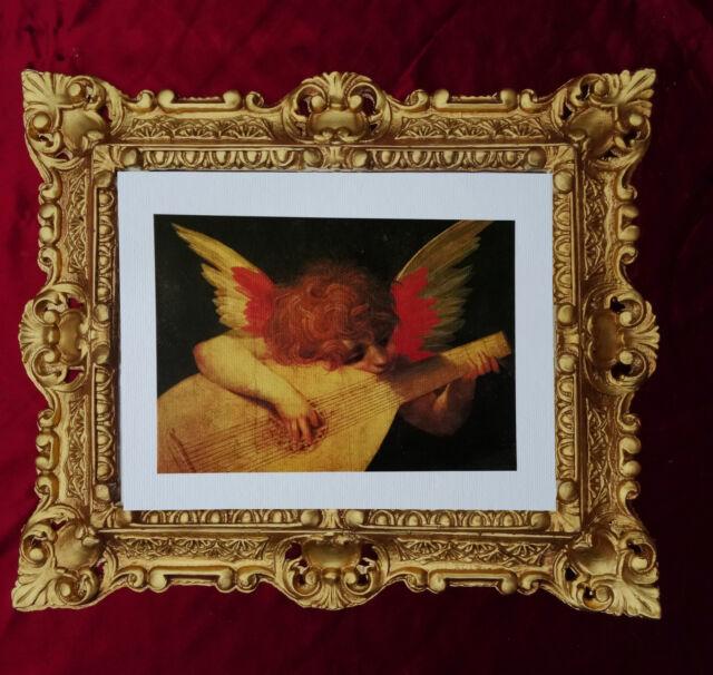 ángel con Mandolina CUADRO BARROCO MARCO Aspecto Antiguo 45x38cm