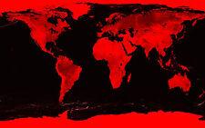 Grande STAMPA INCORNICIATA -- World Map Effetto Pietra Nero e Rosso (foto atlante mondo)