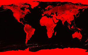 Poster world map stone effect black red picture atlas globe image is loading poster world map stone effect black amp red gumiabroncs Choice Image