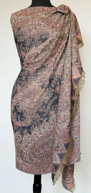 Reversible Paisley Wool Shawl Black & Rose Pashmina Style Jamavar Stole