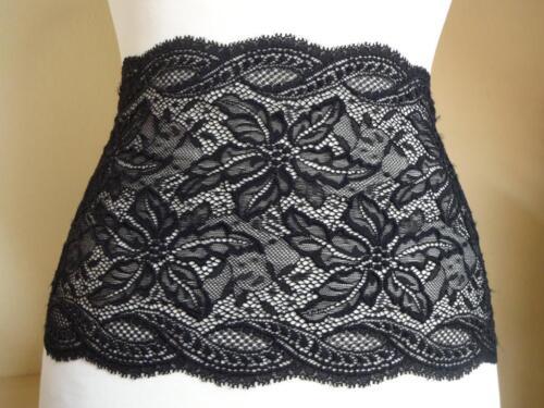 Französische elastische Spitze Spitzenborte,Lace in schwarz 21cm breit