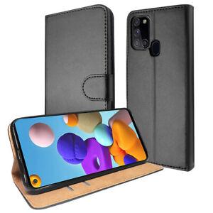 SDTEK Coque pour Samsung Galaxy A21s Housse Portefeuille Etui Cuir Flip (Noir)