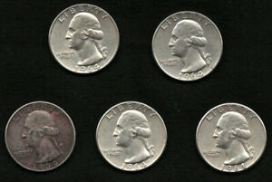 Lot-of-5-Washington-Silver-Quarter-Coins-Dates-1964-FREE-Delivery