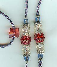 NEW! BEADED DOG SHOW LEAD LEASH/SLIP/TOY/red/white/blue