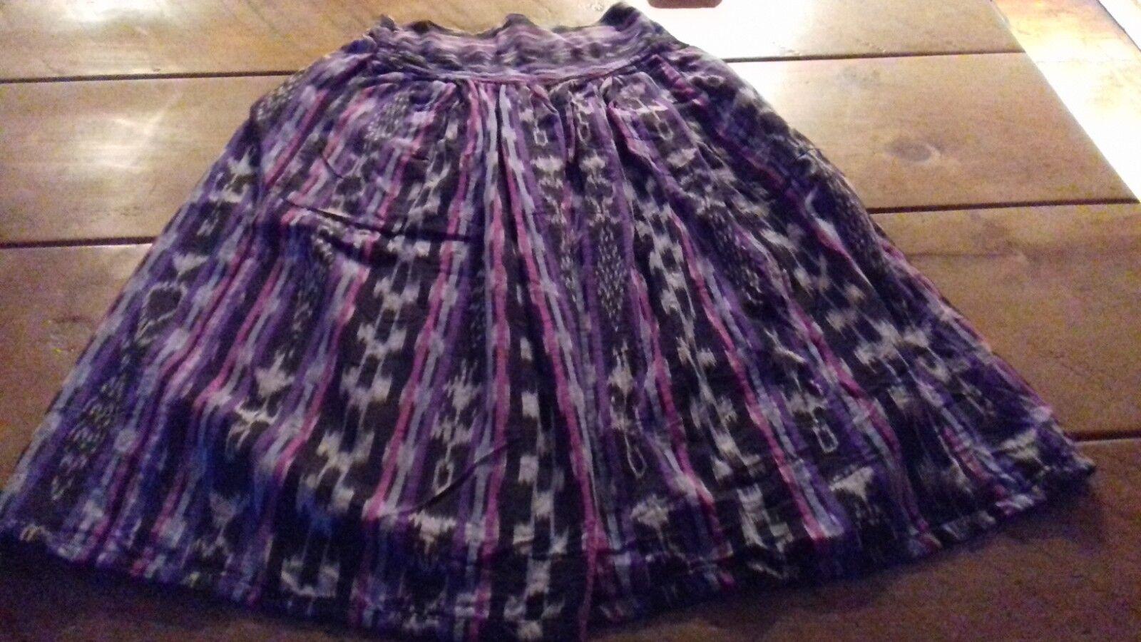 Multi-Coloured/Purple Women's Skirt - 100% Cotton - Made In Guatemala - Unworn