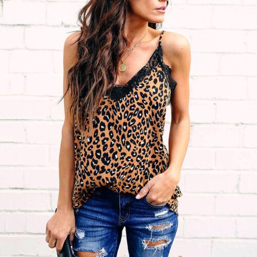 Women Lace Leopard  Print Vest V-Neck Sleeveless Tank Tops Shirts Summer
