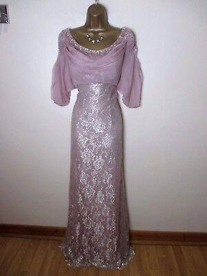 mon cheri montage formal evening long gown dress size 10 pink silver embellished