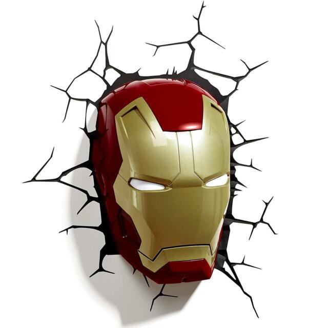 Man 3d Clair Iron Marvel Avec Masque Fx Décoration Autocollant Murale Led ymNvn80wO