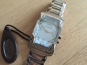 Chronotech analog fat glass watch with rhinestones - metal band - new