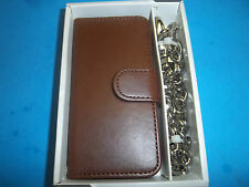 BROWN CHAIN WALLET / CREDIT CELL PHONE CASE FITS APPLE  I5 87505 FREE SHIPPING
