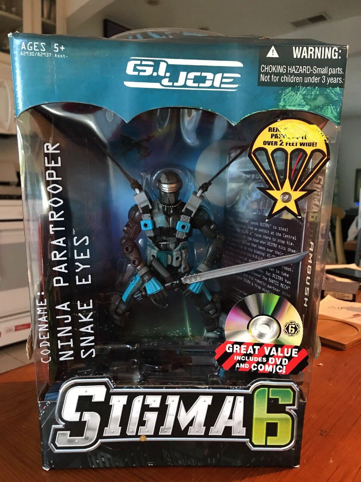 Gi Joe Sigma 6 Ninja Paratrooper Snake Eyes