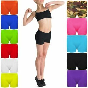 Kids-Lycra-Hot-Pants-Knickers-Dance-Microfiber-Shorts-Gym-Neon-Party-5-12-Years
