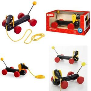 Brio Wooden Pull Along Dachshund Dog Puppy Sausage Infant Toddler Walking Toy