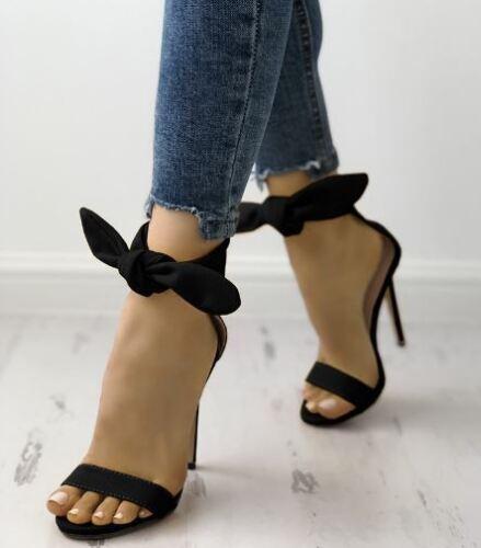 12 Sandales cuir en bottines stiletto noires cm tzrwn4Fzq