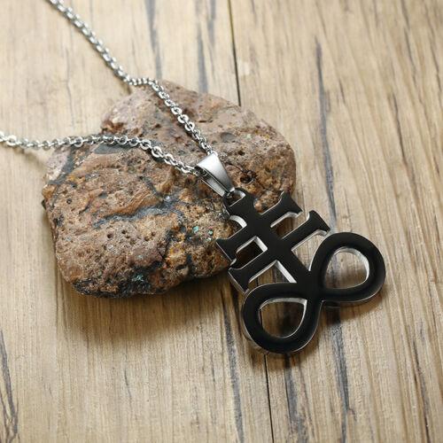 Men Women Pendant Necklace Church Satan Satanic Inverted Crucifix Cross Jewelry