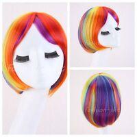 Fashion Girl's Lolita Bob Rainbow Wigs Cosplay Hair Short Straight Party Wig+Cap