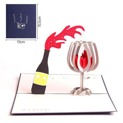 3D Up Laser Cut Cards Wine Postcards Birthday Greeting Cards Souvenir GiBP
