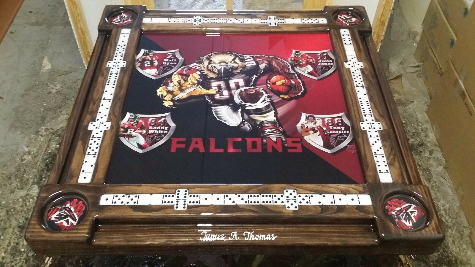 Atlanta Falcons Domino Table with your name by Domino Tables by Art