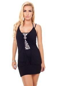 Top-Shirt-Minikleid-Longtop-Tunika-Neckholder-Lagenlook-Print-Brosche-S-M-L
