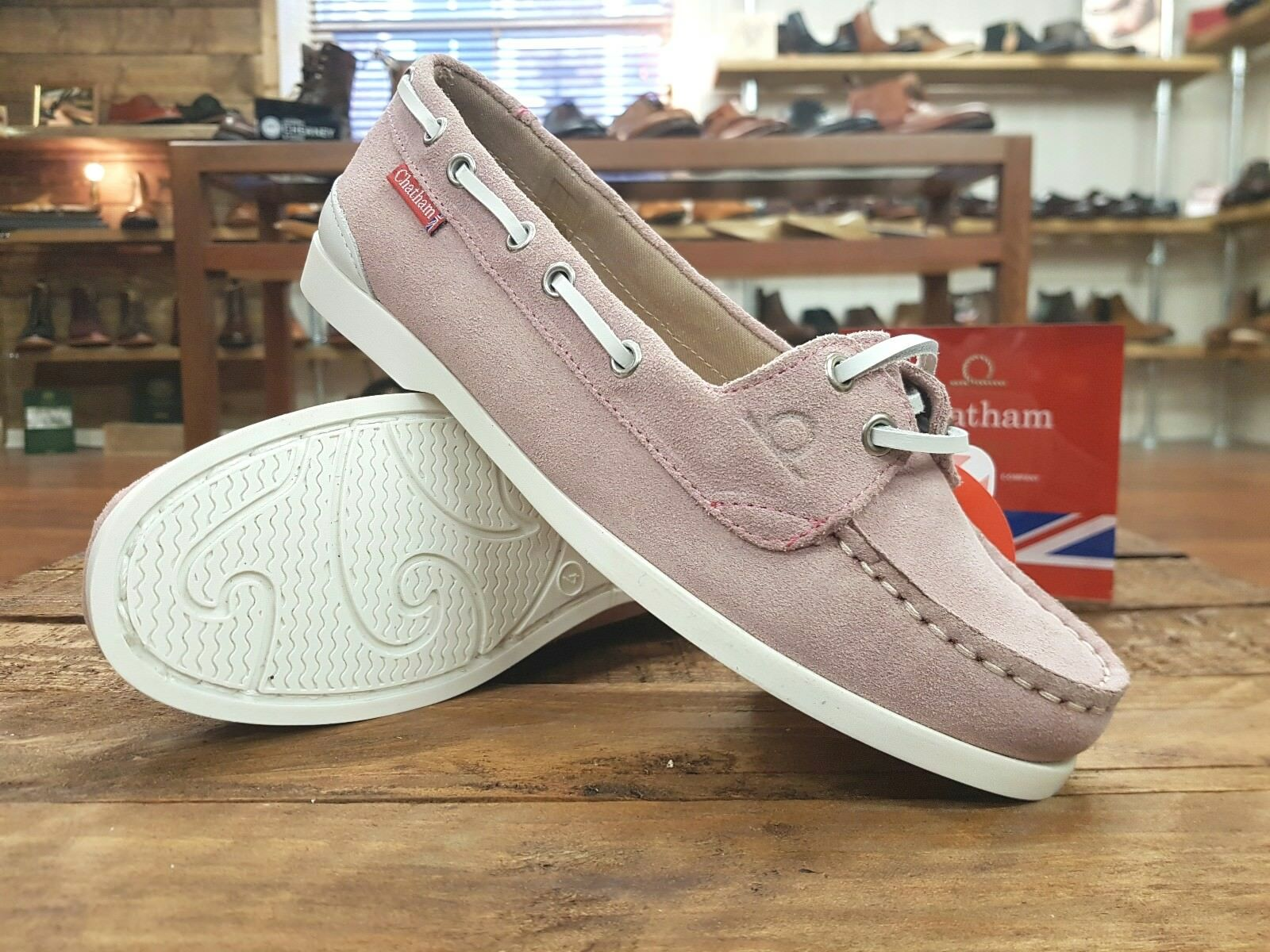 CHATHAM // Rema // Damenschuhe light Pink Suede Boat Deck Schuhes // NEW
