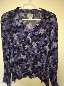 db4b2e0c6fbd7 Ann Taylor Loft Women s Blouse 100% SILK Long Sleeve Semi-sheer Blue ...