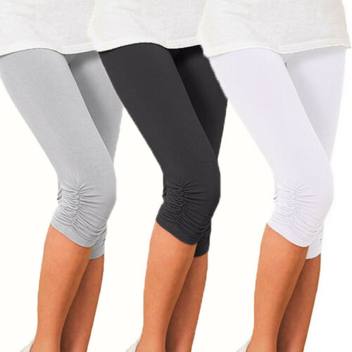 Womens Crop 3//4 Length Leggings Summer Cotton High Quality Causal Pants YO