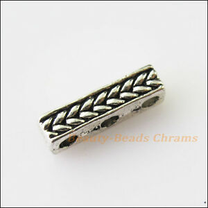 8Pcs-Antiqued-Silver-Tone-3Holes-Spacer-Beads-Bars-Charms-Connectors-4x15mm