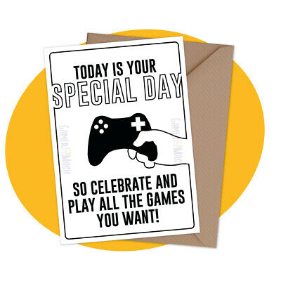 PERSONALISED BIRTHDAY CARD Buff Thumb personalized gamer greeting ps4 xbox
