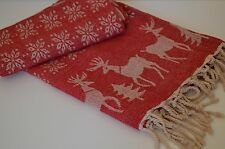 Red Deer Throw Blanket 160x130cm Soft Luxury Cotton