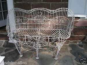 Remarkable Details About Antique Victorian 1800S Garden Iron Wire Bench Heart Back Free Shipping 100 Mil Pabps2019 Chair Design Images Pabps2019Com