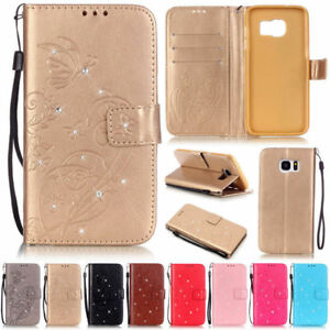 Bling-Butterfly-Wallet-Leather-Flip-Case-Cover-For-Samsung-J7-2016-S3-S5-S7-S8