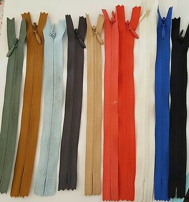 """Invisible Zipper Black Off White Olive B Blue Beige D Gray Coral Royal 7/"""" 7.5/"""" 8"""