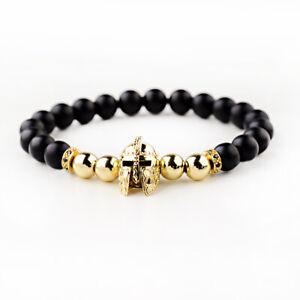 Fashion-Men-Spartan-Warrior-Helmet-Bracelets-Matte-Onyx-Beaded-Bracelets-Jewelry