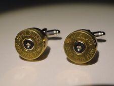 .338 Win Mag Cufflinks -- Ammo Ammunition Brass Bullet Caliber Super Magnum