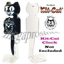 """New Official Kitty Cat Clock 13.5"""" Clear Plastic Stand MADE IN USA"""