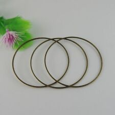 10PCS Antique Bronze Tone Copper Round Ring Charms Pendant Jewelry 50*50*2mm