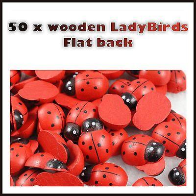 50 Wooden ladybirds scrapbooking cards craft garden flatback flat back Lady Bugs