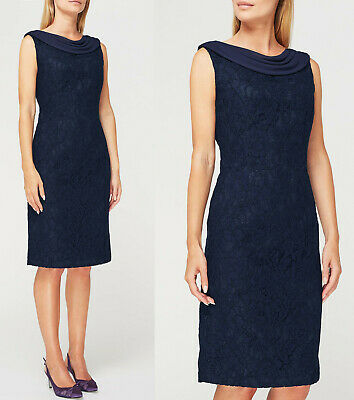 Jacques Vert New Paloma Lace Drape Midi Dress In Navy Sizes 8 To 24 Quell Sommer Durst