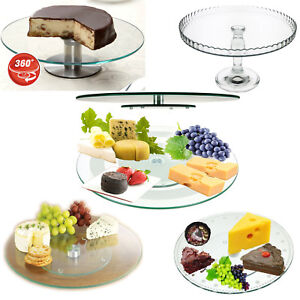 Lazy Susan Glass Rotating Cake Stand Turntable Plate