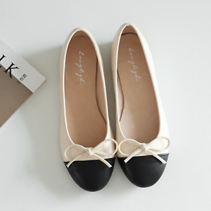 huge discount 22dc6 1cb71 Details about Creme/Black PU Leather Casual Ballet/Ballerina Flats Shoes  Euro 40