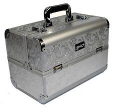 ARGENTO FOGLIA beautician COSMETICI MAKE UP BOX vanità gioielli Saloon caso D03