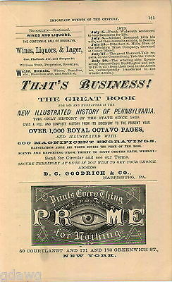 1876 Advert Book Illustrated History Of Pennstlvania 300 Engravings Orders Are Welcome.